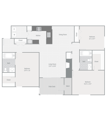 3 Bedrooms 2 Bathrooms Apartment for rent at The Grove At Trinity Pointe in Cordova, TN