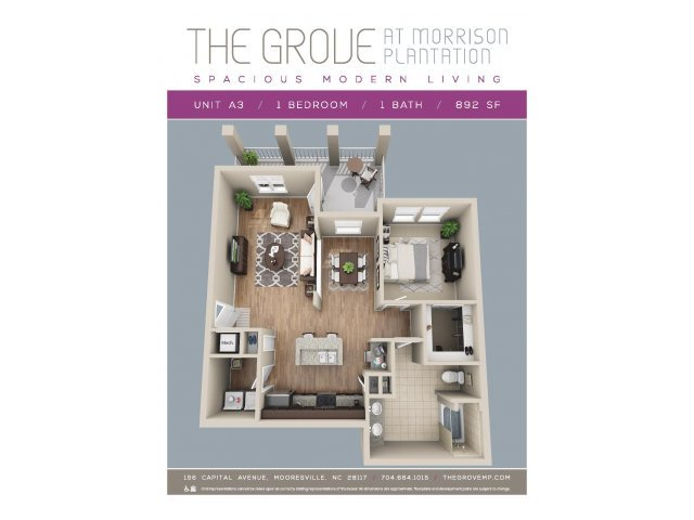 1 Bedroom 1 Bathroom Apartment for rent at Grove At Morrison Plantation in Mooresville, NC