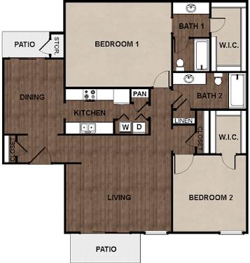 2 Bedrooms 2 Bathrooms Apartment for rent at Star Club in San Antonio, TX