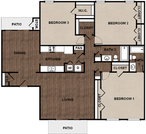 3 Bedrooms 2 Bathrooms Apartment for rent at Star Club in San Antonio, TX