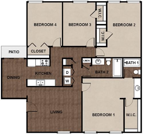 4 Bedrooms 2 Bathrooms Apartment for rent at Star Club in San Antonio, TX