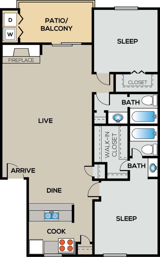 2 Bedrooms 2 Bathrooms Apartment for rent at City Crest in San Antonio, TX