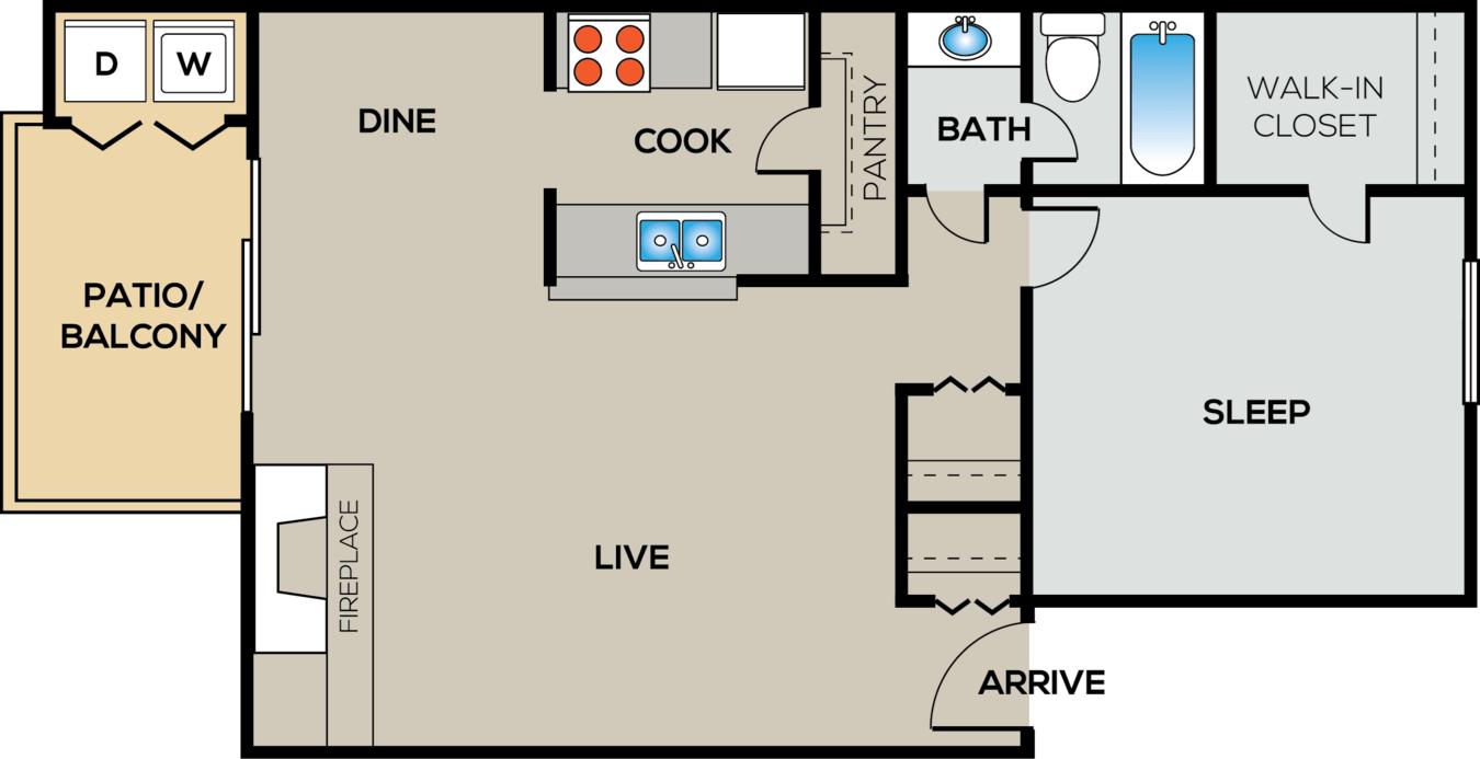 1 Bedroom 1 Bathroom Apartment for rent at City Crest in San Antonio, TX