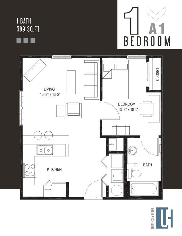 1 Bedroom 1 Bathroom Apartment for rent at University House Birmingham in Birmingham, AL