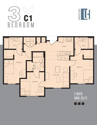 3 Bedrooms 3 Bathrooms Apartment for rent at University House 13th Street in Gainesville, FL