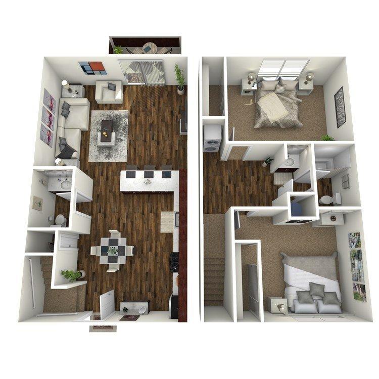 2 Bedrooms 1 Bathroom Apartment for rent at Fairway Village in San Ramon, CA