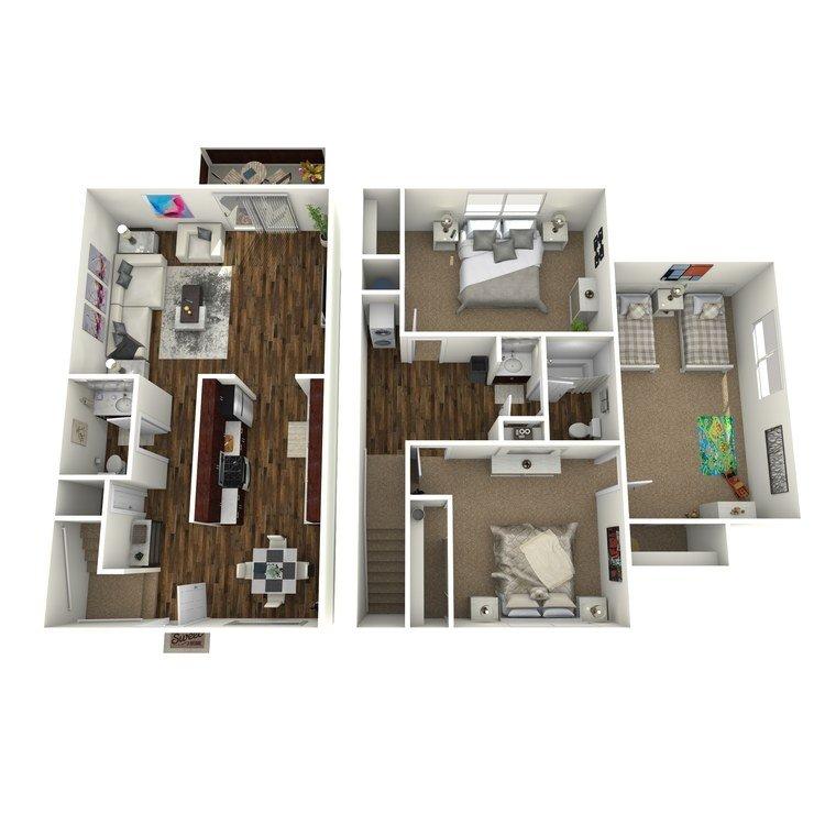 3 Bedrooms 1 Bathroom Apartment for rent at Fairway Village in San Ramon, CA