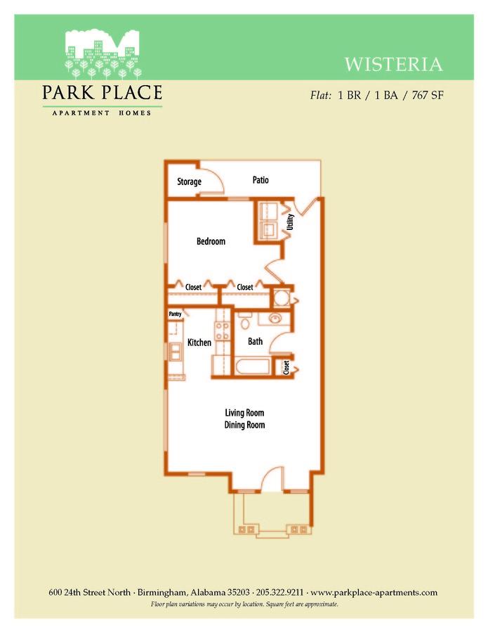 1 Bedroom 1 Bathroom Apartment for rent at Park Place in Birmingham, AL