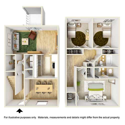 3 Bedrooms 3 Bathrooms Apartment for rent at Place At Galleria in Birmingham, AL