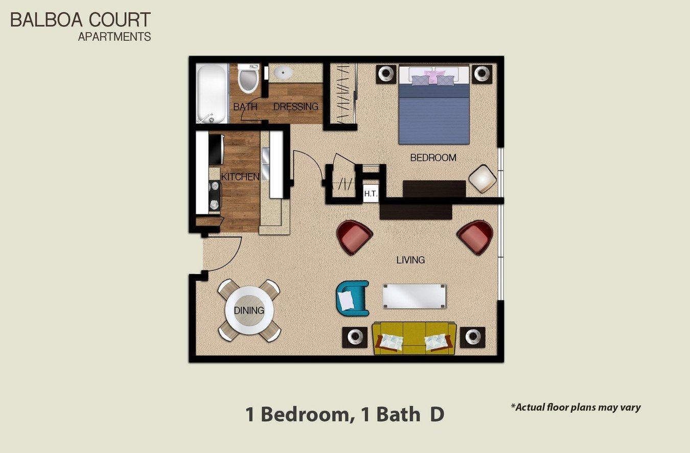 1 Bedroom 1 Bathroom Apartment for rent at Balboa Court in North Hills, CA