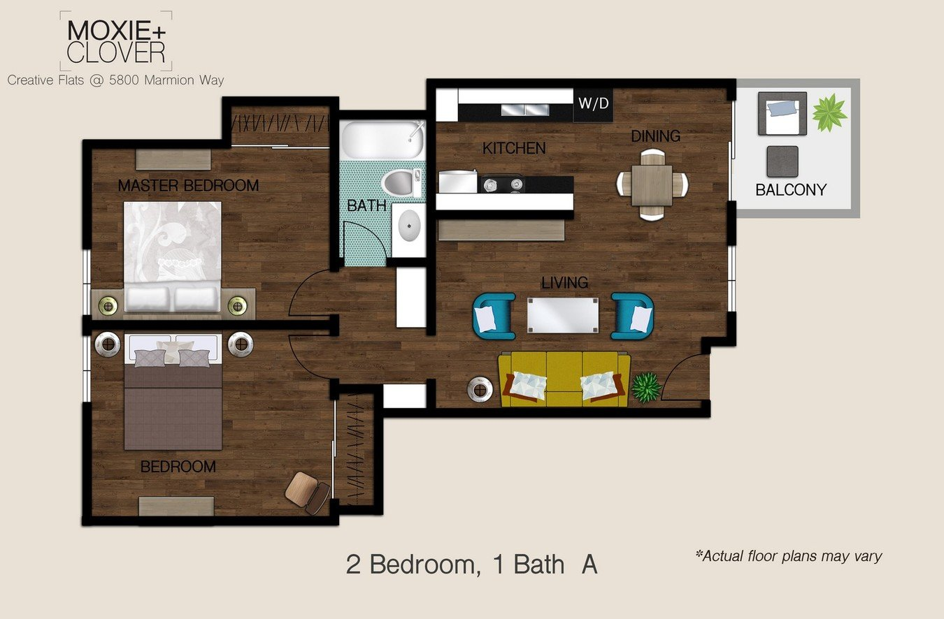 2 Bedrooms 1 Bathroom Apartment for rent at Moxie + Clover in Highland Park, CA