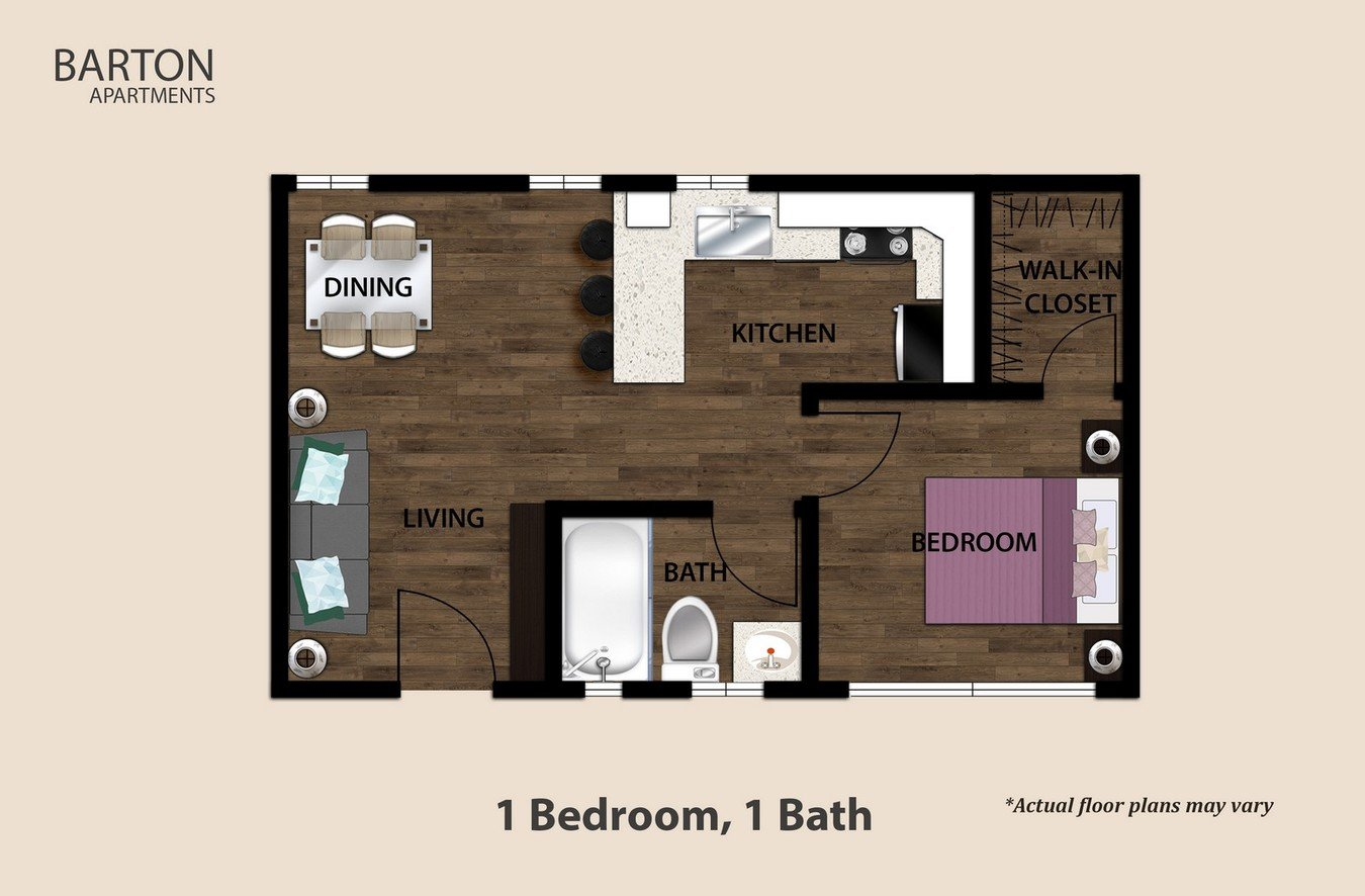 1 Bedroom 1 Bathroom Apartment for rent at Barton Apartments in Los Angeles, CA