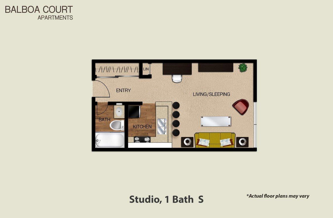 Studio 1 Bathroom Apartment for rent at Balboa Court in North Hills, CA