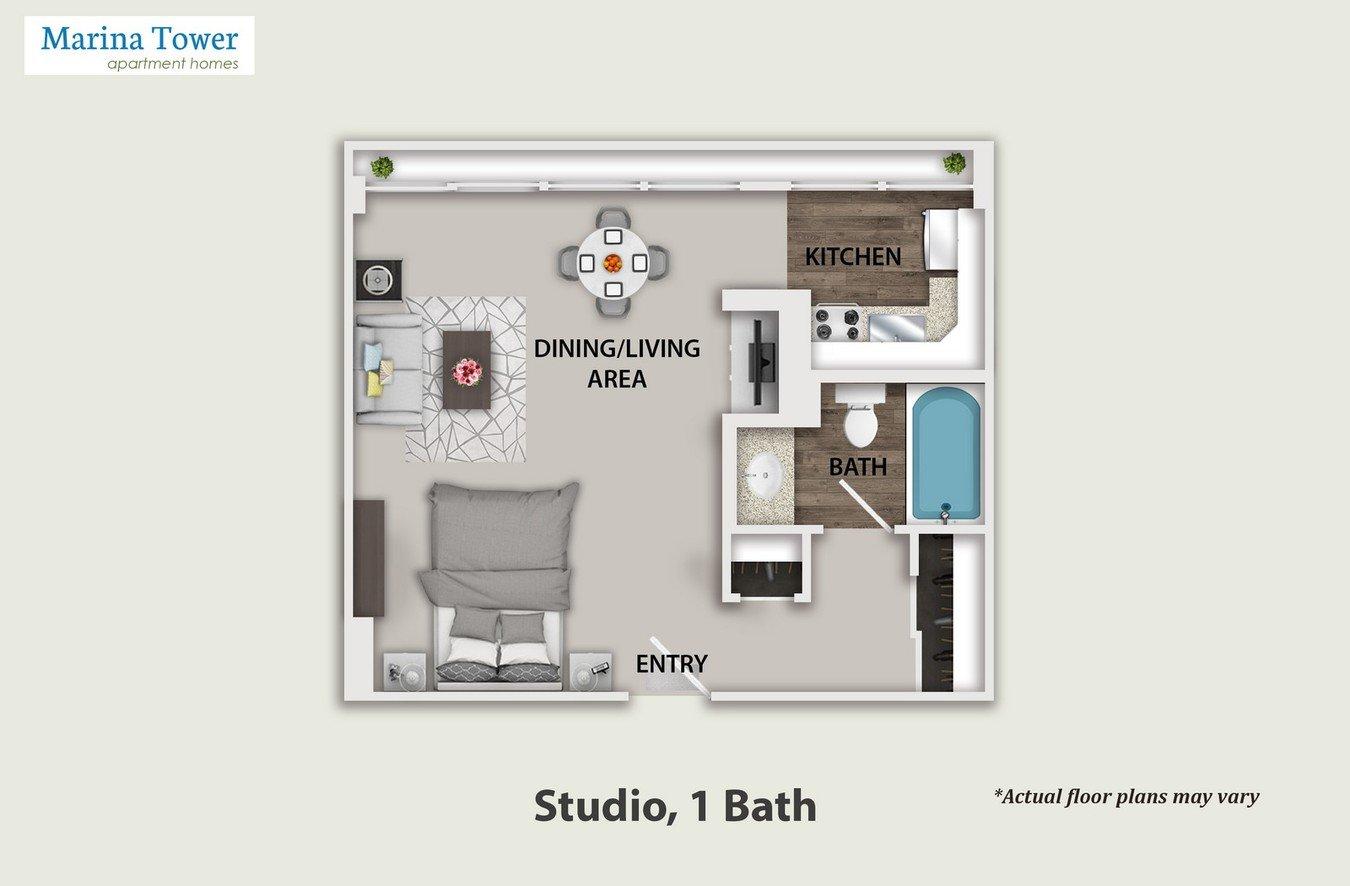 Studio 1 Bathroom Apartment for rent at Marina Tower in Marina Del Rey, CA