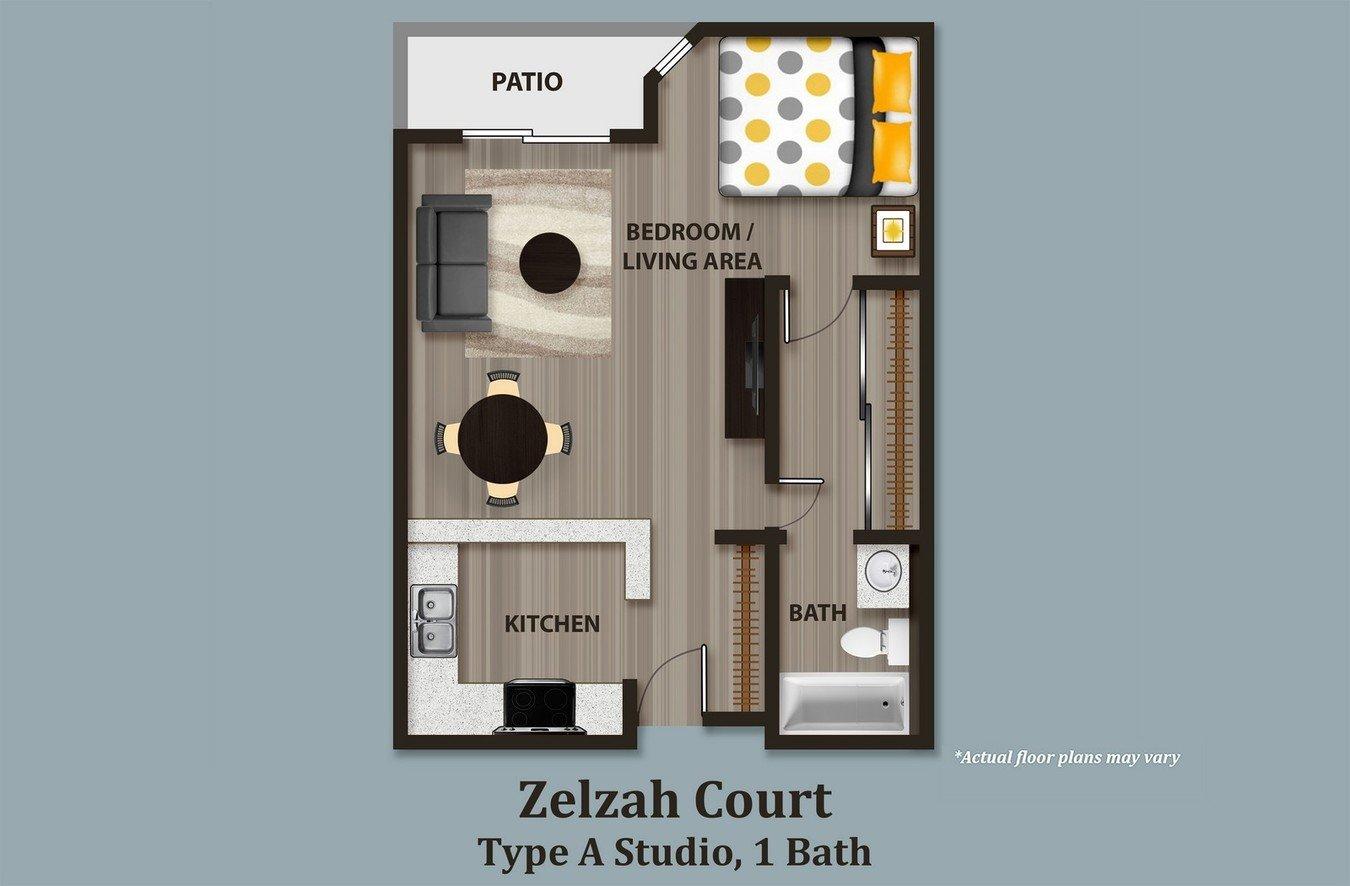 Studio 1 Bathroom Apartment for rent at Zelzah Court in Northridge, CA