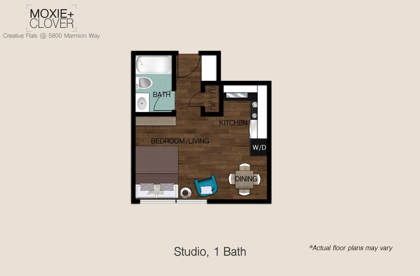 Studio 1 Bathroom Apartment for rent at Moxie + Clover in Highland Park, CA
