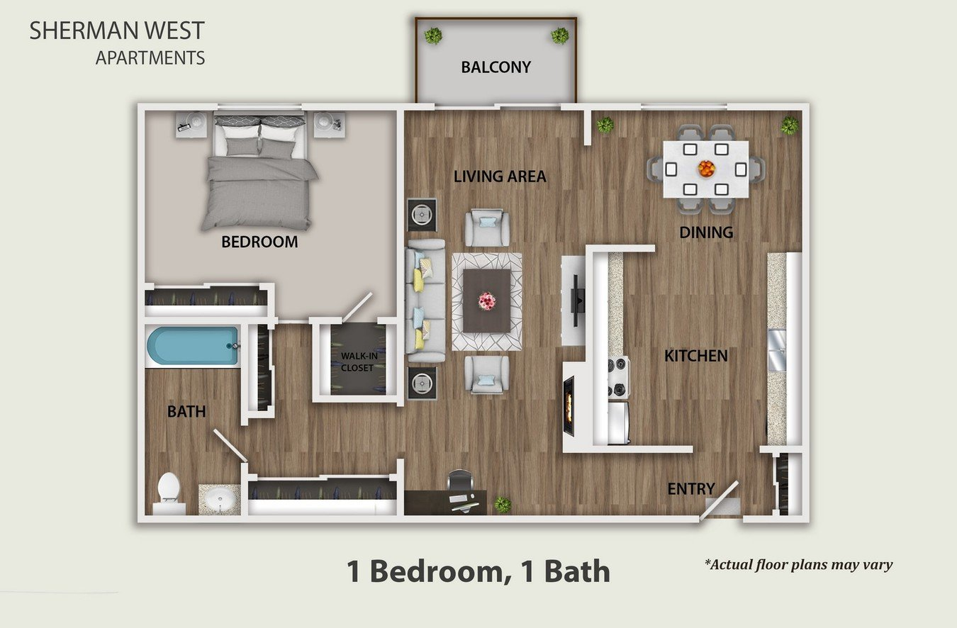 1 Bedroom 1 Bathroom Apartment for rent at Sherman West Apartments in Reseda, CA