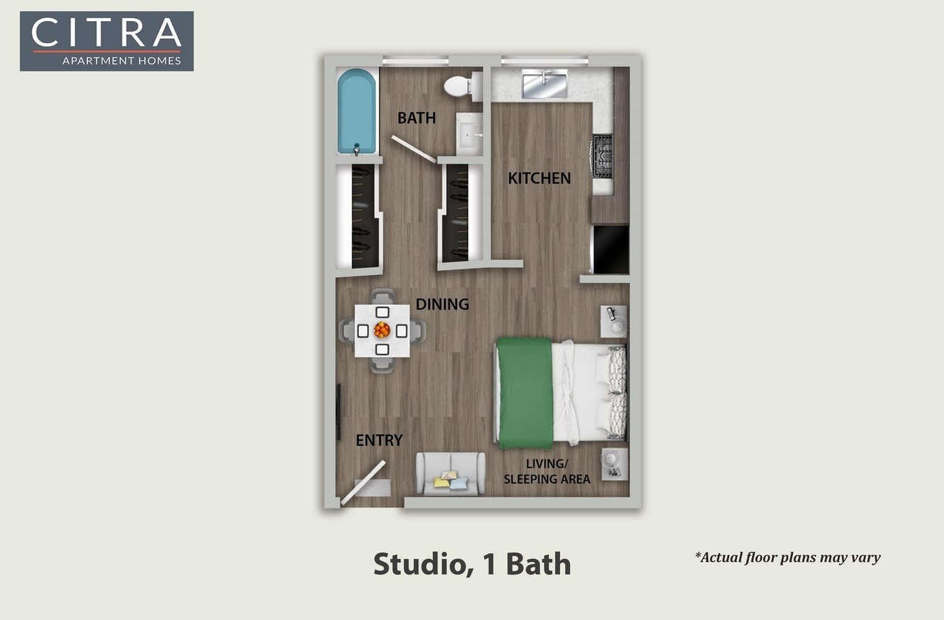 Studio 1 Bathroom Apartment for rent at Citra Apartments in Burbank, CA