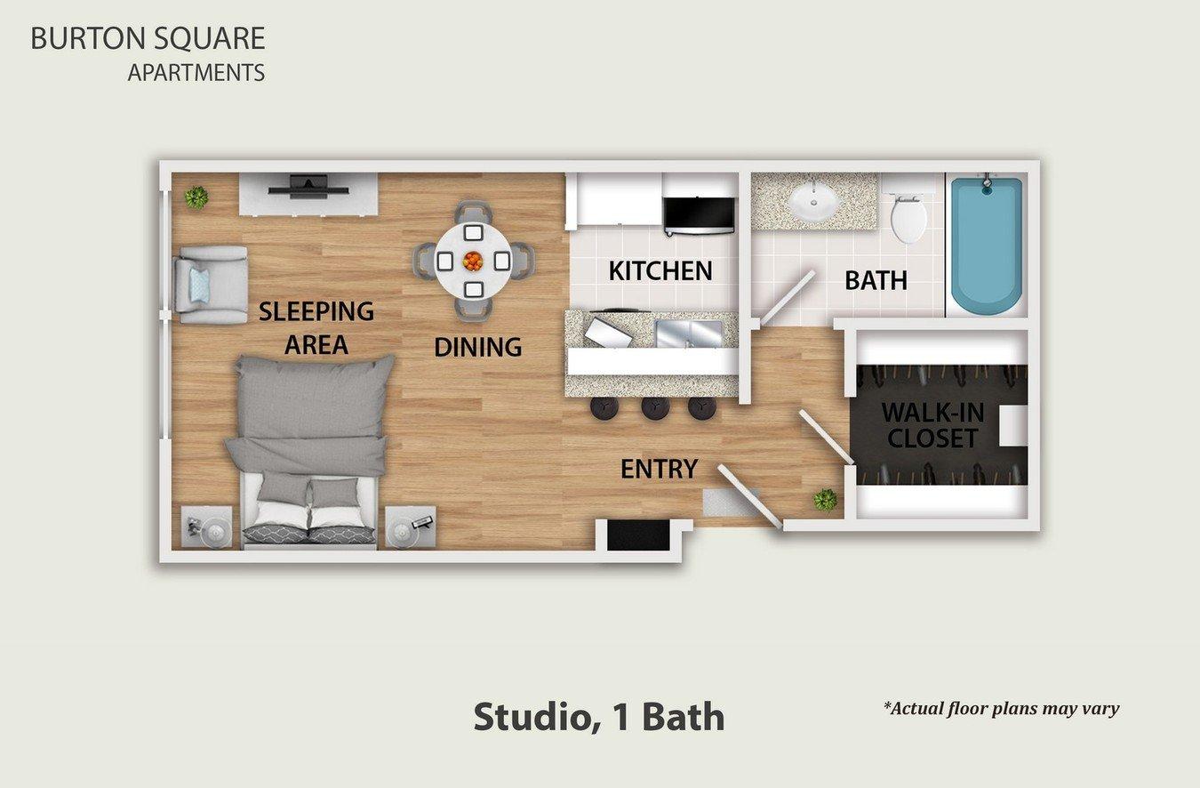 Studio 1 Bathroom Apartment for rent at Burton Square in Los Angeles, CA