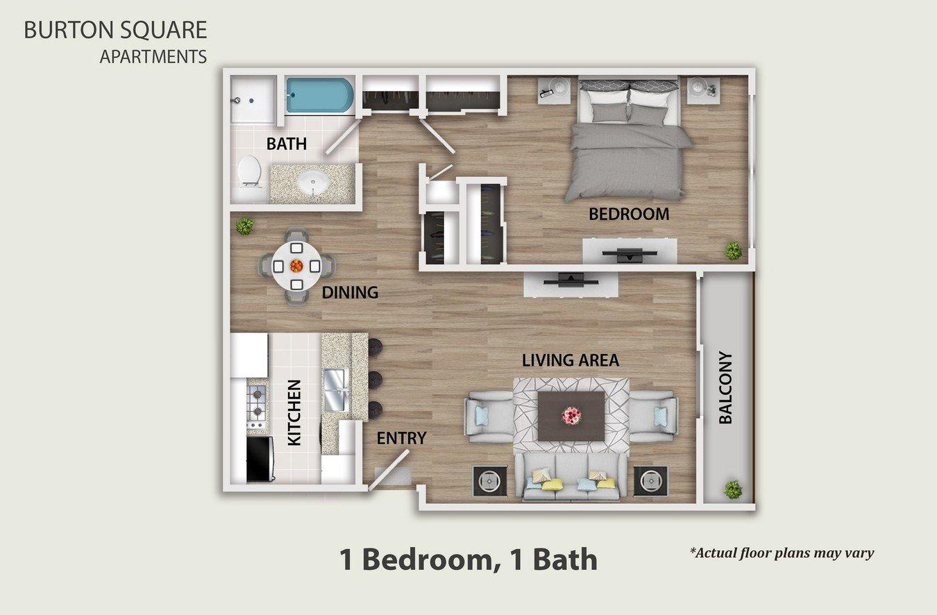 1 Bedroom 1 Bathroom Apartment for rent at Burton Square in Los Angeles, CA