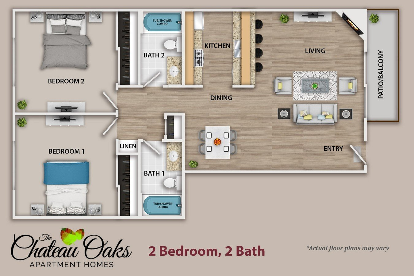 2 Bedrooms 2 Bathrooms Apartment for rent at The Chateau Oaks in Sherman Oaks, CA
