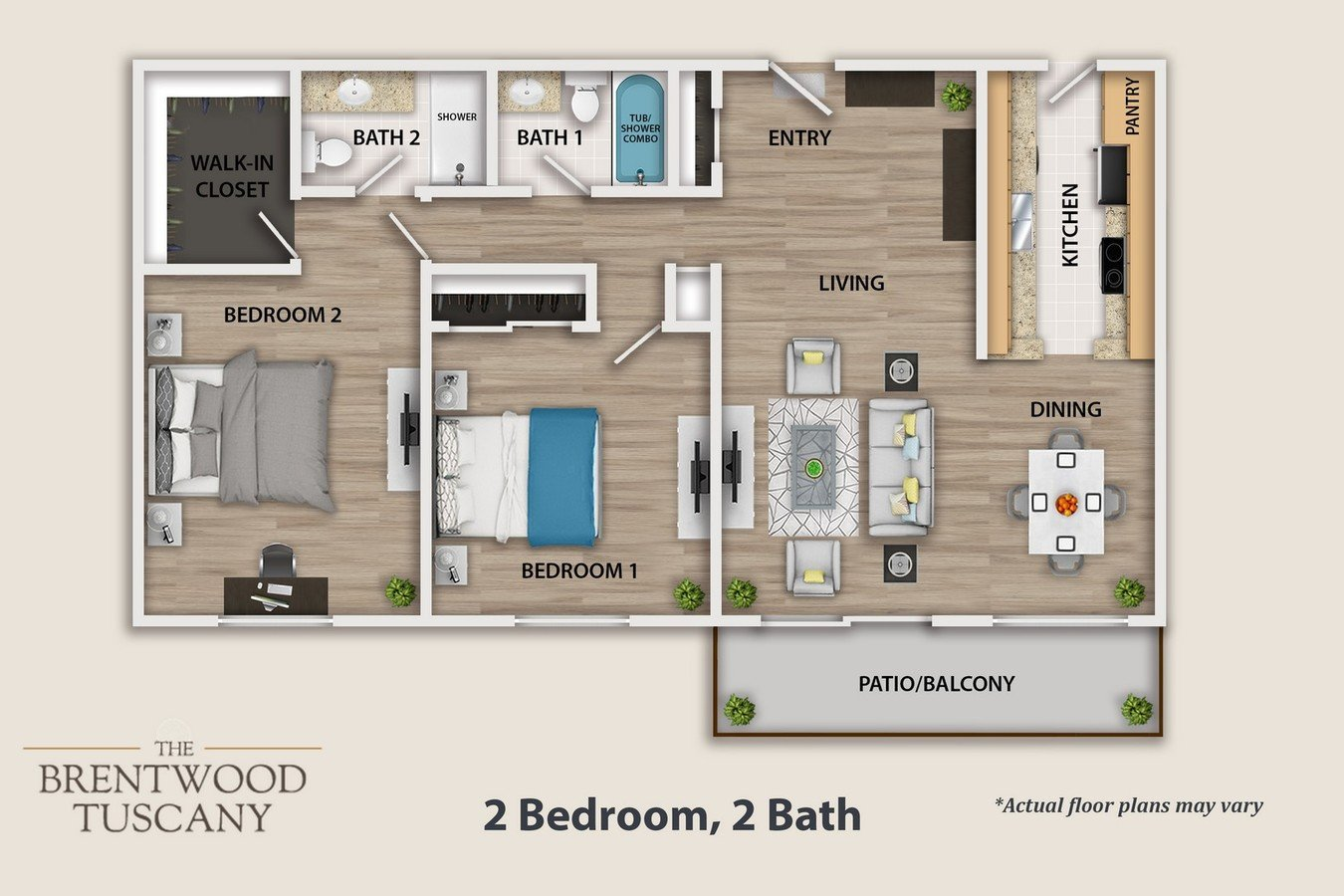 2 Bedrooms 2 Bathrooms Apartment for rent at The Brentwood Tuscany in Brentwood, CA