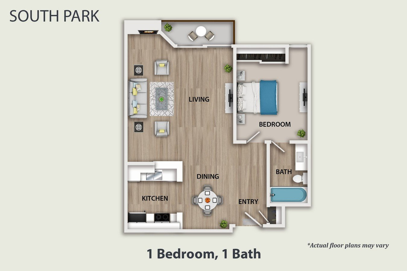 1 Bedroom 1 Bathroom Apartment for rent at South Park Apartments in Sherman Oaks, CA