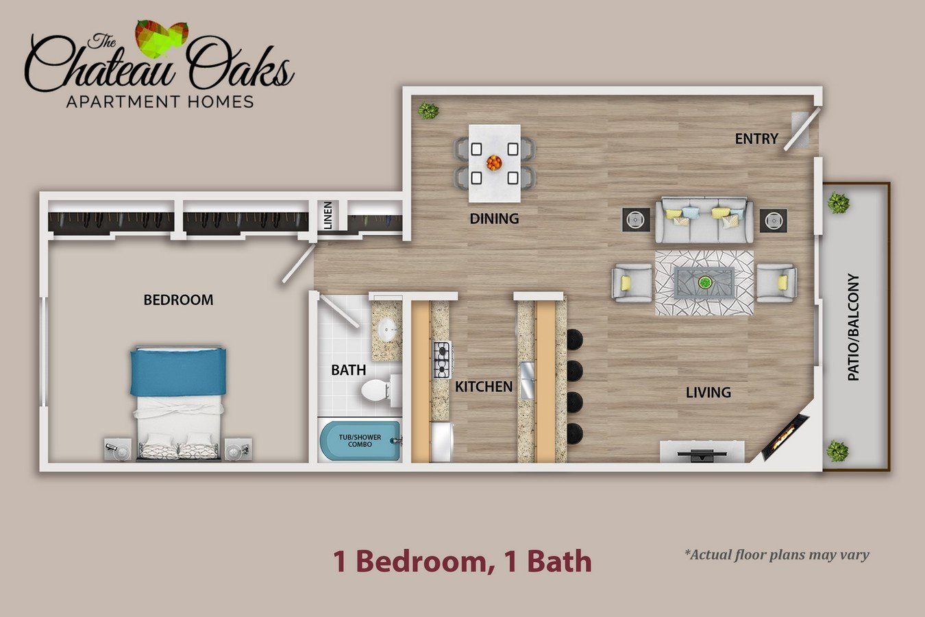 1 Bedroom 1 Bathroom Apartment for rent at The Chateau Oaks in Sherman Oaks, CA