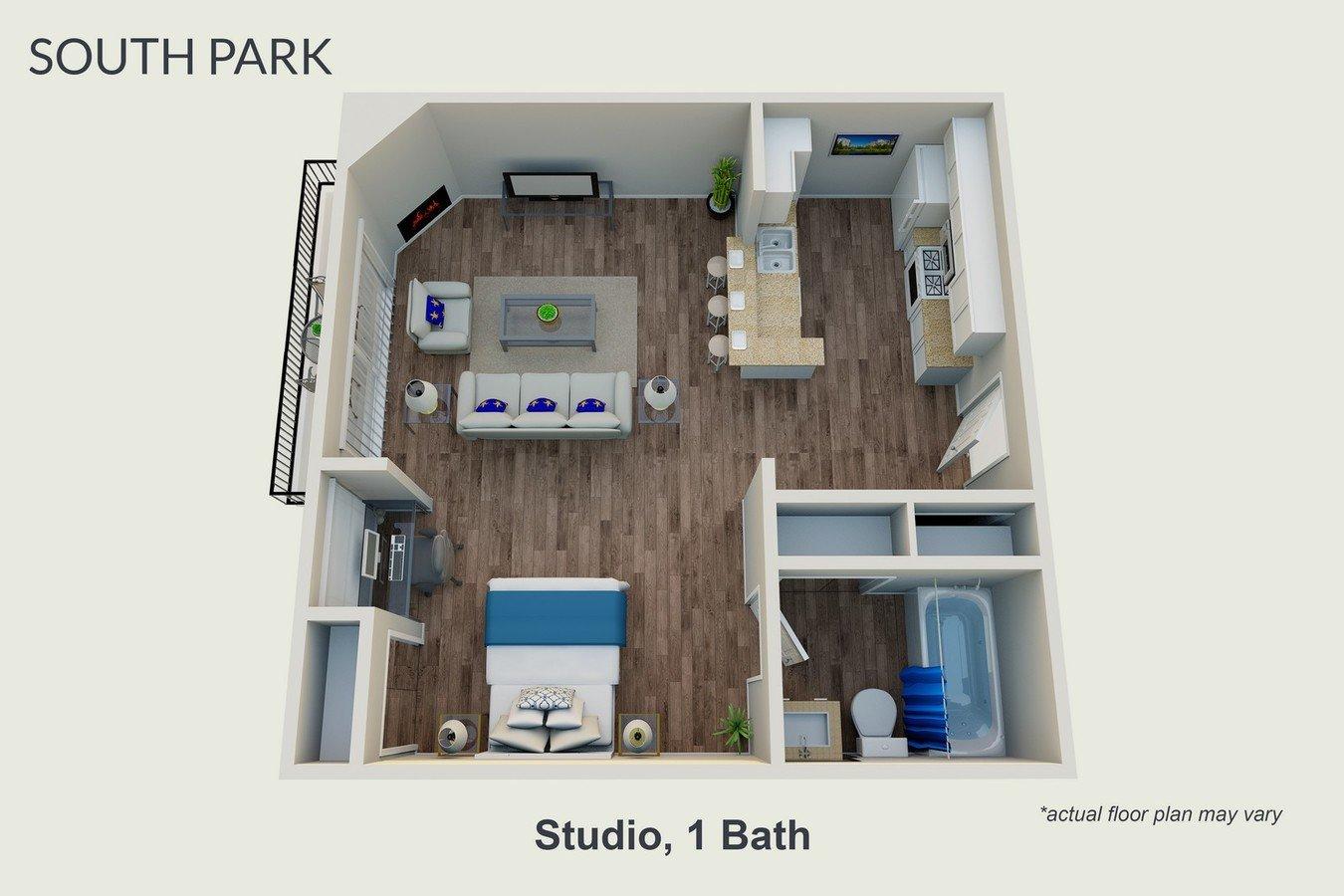 Studio 1 Bathroom Apartment for rent at South Park Apartments in Sherman Oaks, CA