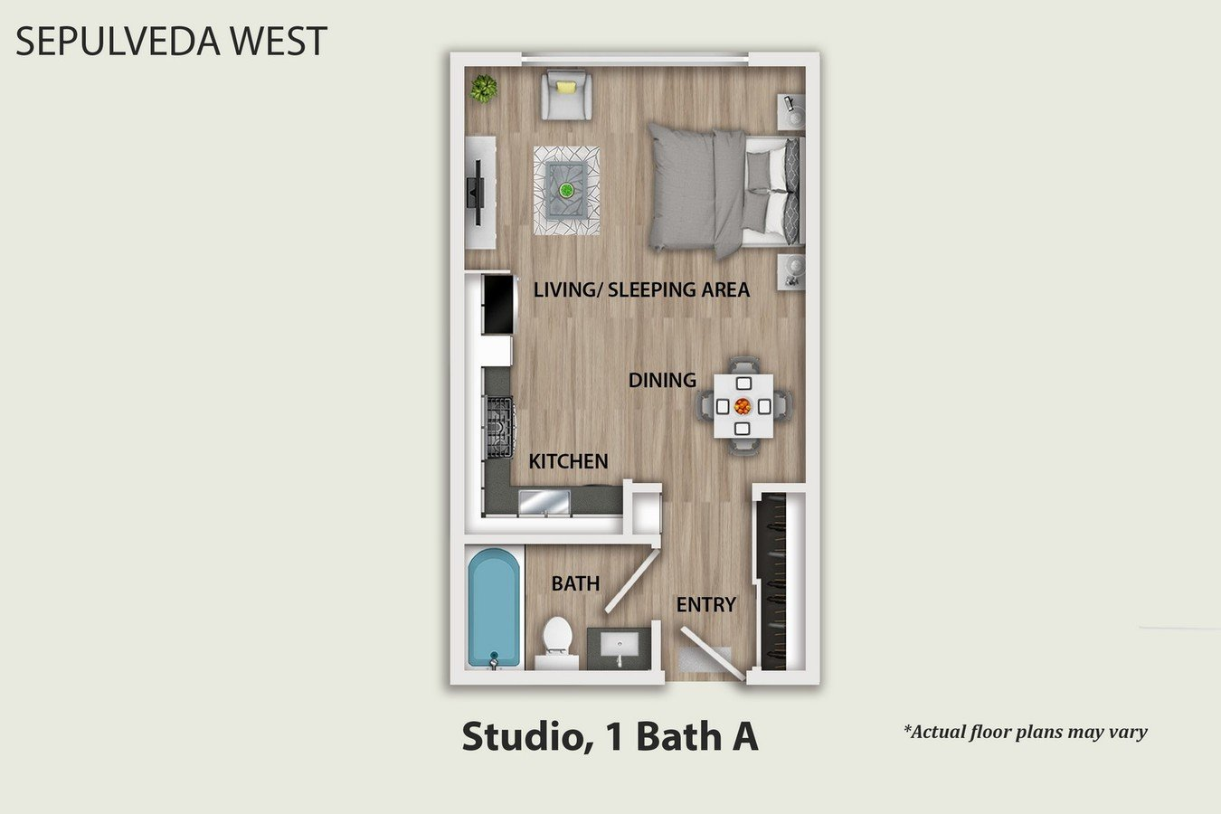 Studio 1 Bathroom Apartment for rent at Sepulveda West Apartments in Los Angeles, CA