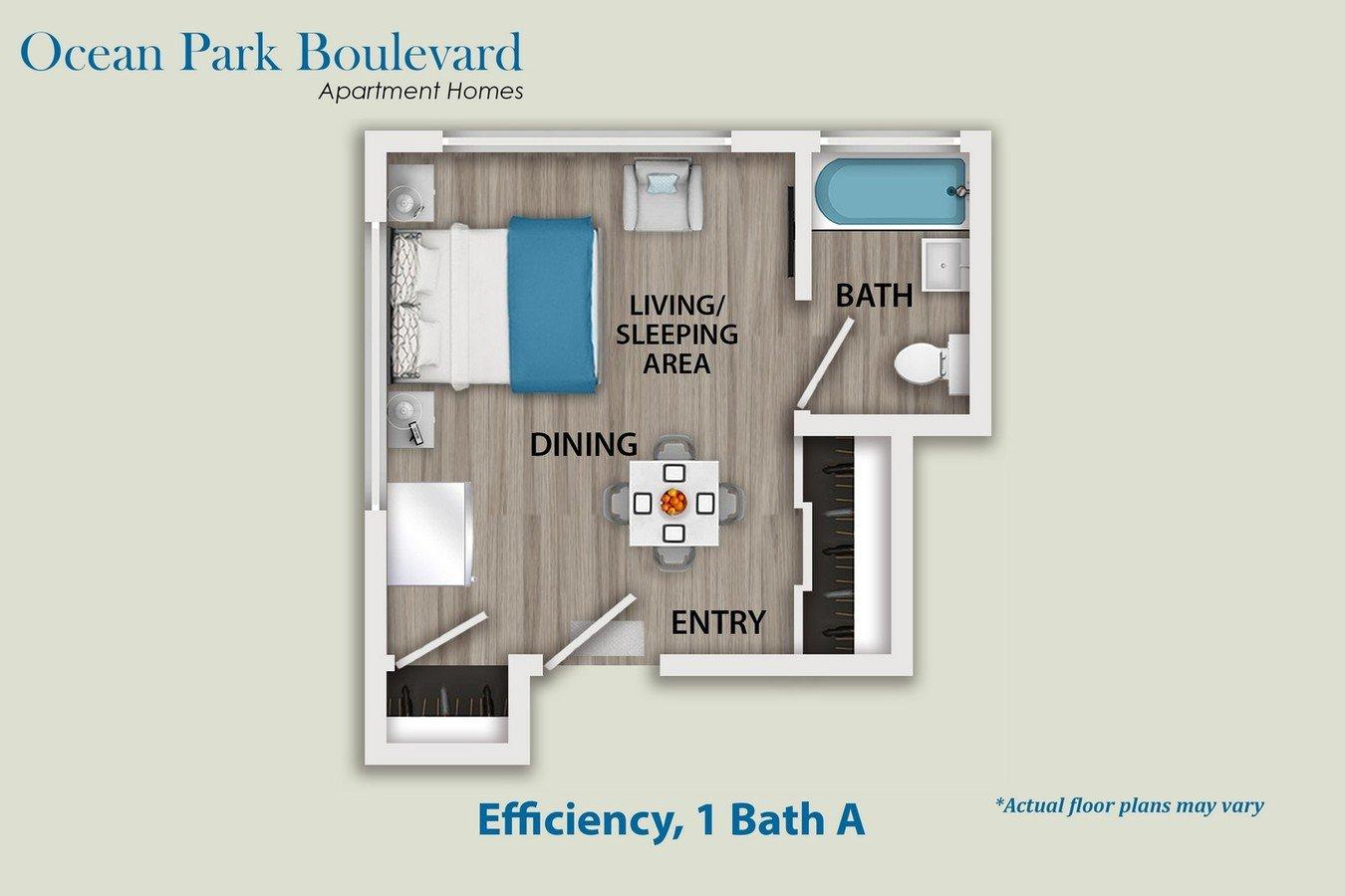 Studio 1 Bathroom Apartment for rent at Ocean Park Boulevard in Santa Monica, CA