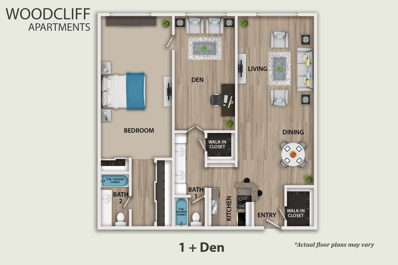 1 Bedroom 2 Bathrooms Apartment for rent at Woodcliff in Los Angeles, CA