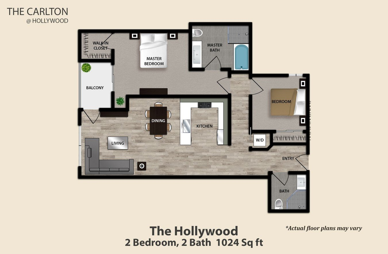 2 Bedrooms 2 Bathrooms Apartment for rent at The Carlton At Hollywood in Hollywood, CA