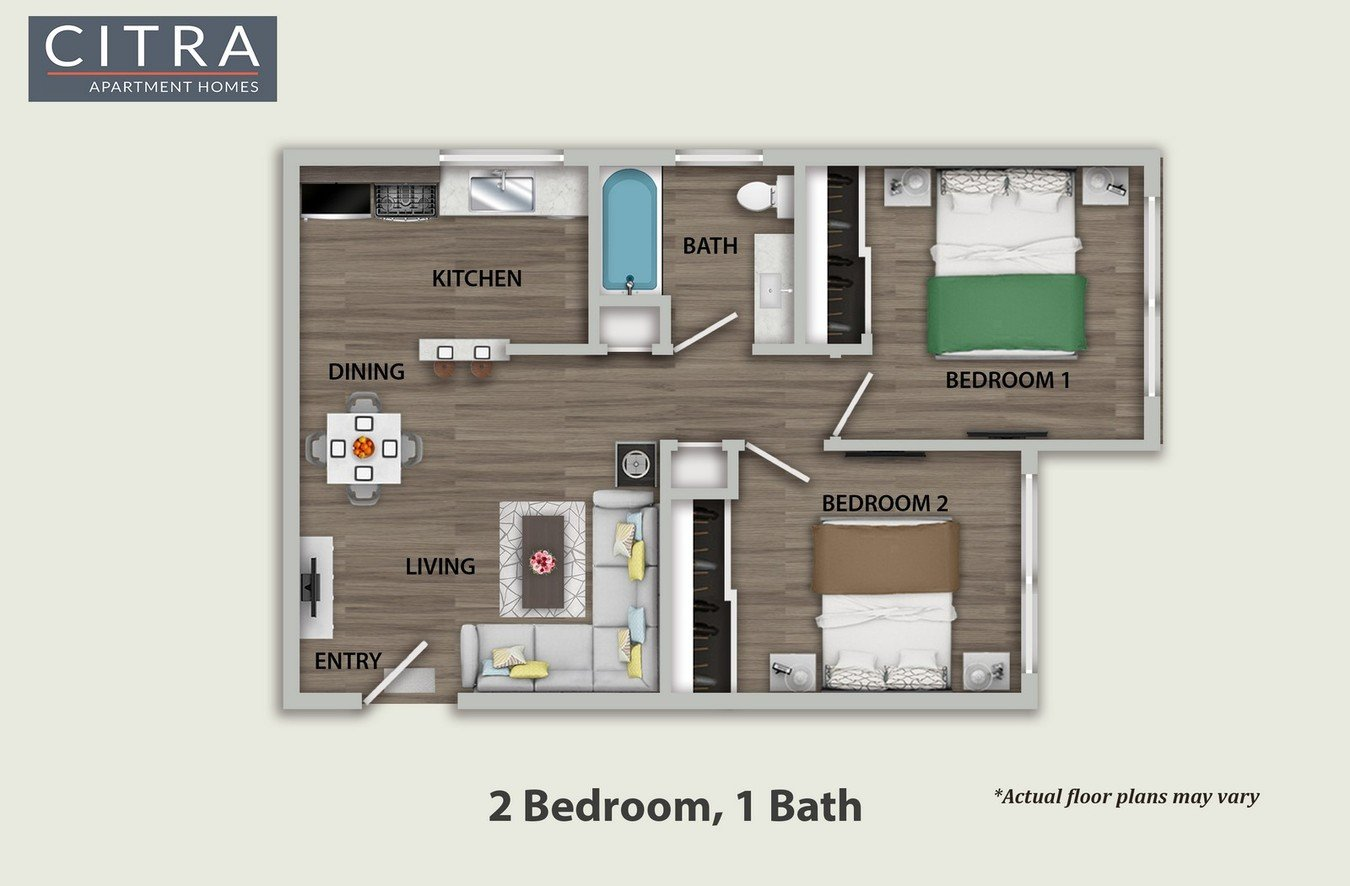 2 Bedrooms 1 Bathroom Apartment for rent at Citra Apartments in Burbank, CA