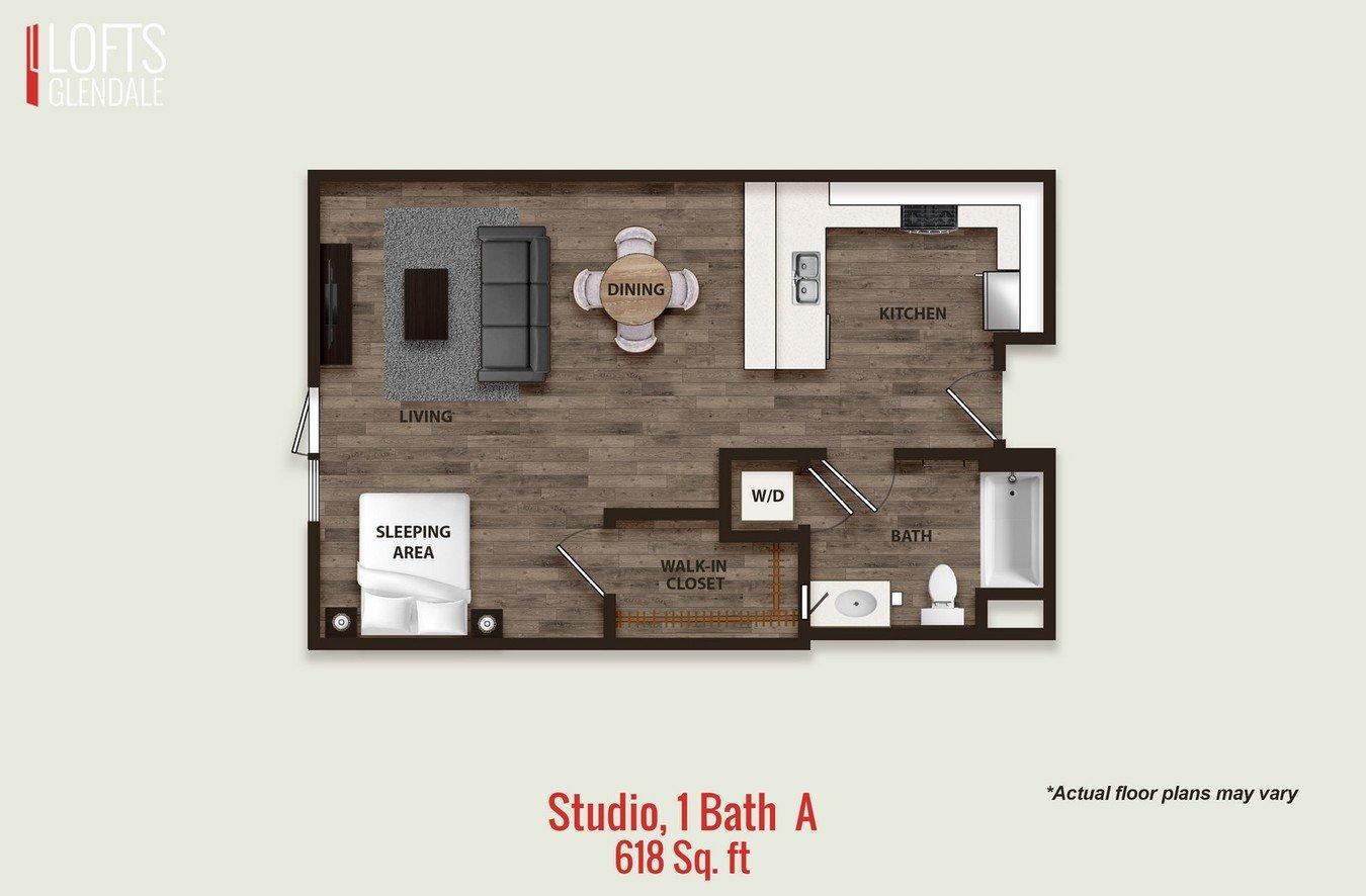 Studio 1 Bathroom Apartment for rent at L Lofts in Glendale, CA