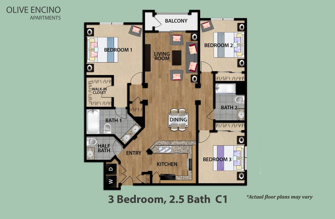 3 Bedrooms 2 Bathrooms Apartment for rent at Olive Encino in Encino, CA