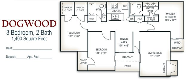 3 Bedrooms 2 Bathrooms Apartment for rent at Walker Springs in Knoxville, TN