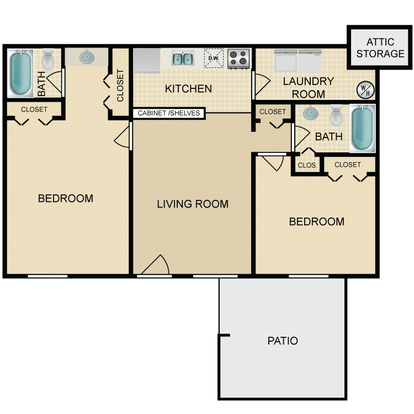 2 Bedrooms 1 Bathroom Apartment for rent at The Canyon & Knox Landing in Knoxville, TN