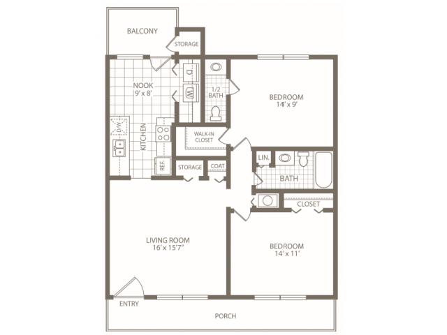 2 Bedrooms 2 Bathrooms Apartment for rent at Brookstone Apartments in Birmingham, AL
