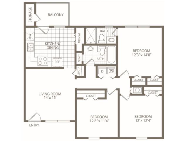 3 Bedrooms 2 Bathrooms Apartment for rent at Brookstone Apartments in Birmingham, AL