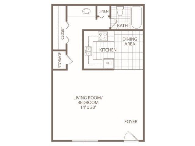 Studio 1 Bathroom Apartment for rent at Fox Valley Apartments in Birmingham, AL
