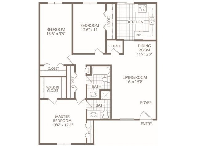 3 Bedrooms 2 Bathrooms Apartment for rent at Fox Valley Apartments in Birmingham, AL