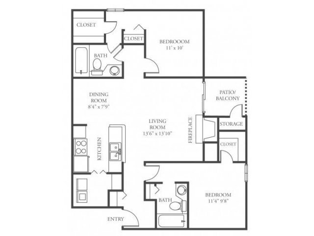 2 Bedrooms 2 Bathrooms Apartment for rent at The Woods At Ridgeway in Memphis, TN