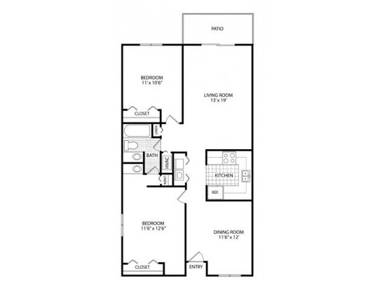 2 Bedrooms 1 Bathroom Apartment for rent at Lakes At Ridgeway in Memphis, TN
