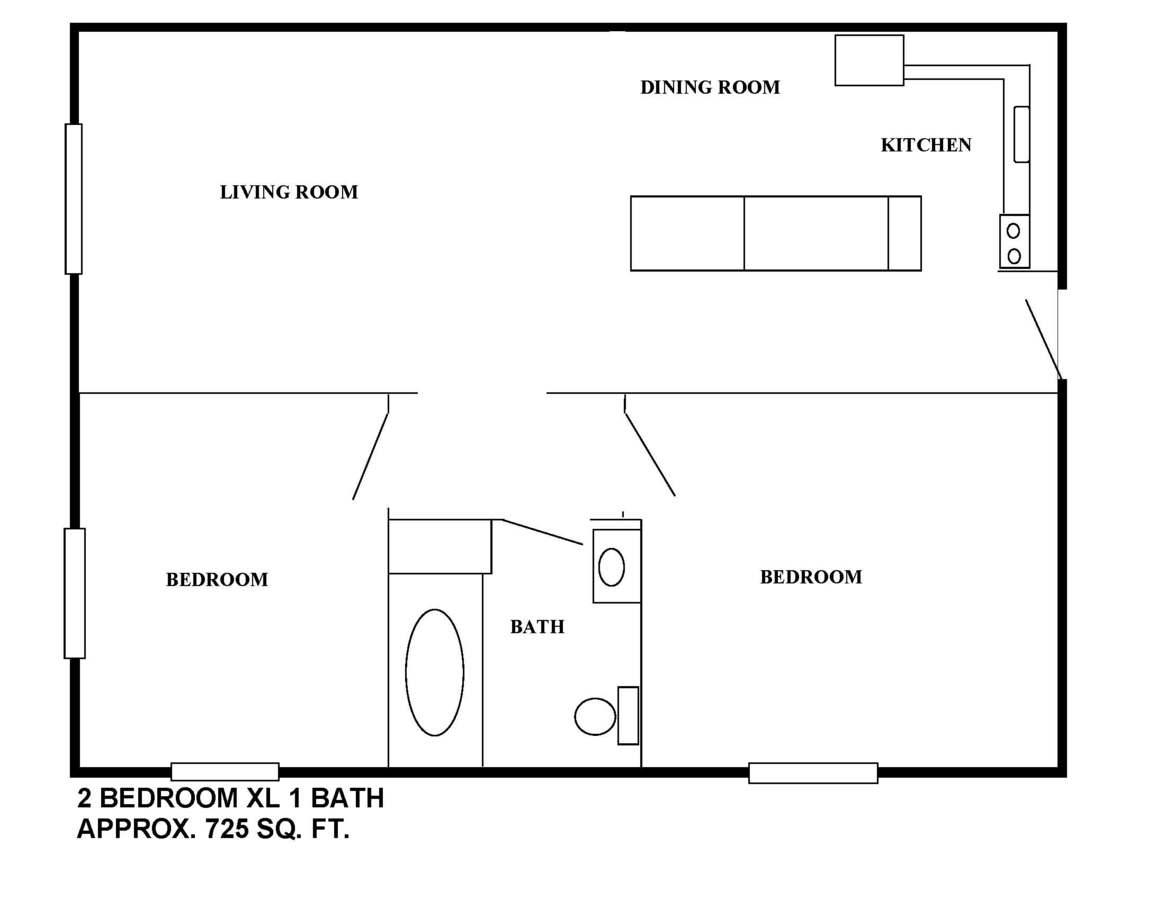 2 Bedrooms 1 Bathroom Apartment for rent at Campus Walk University Square in Bloomington, IN