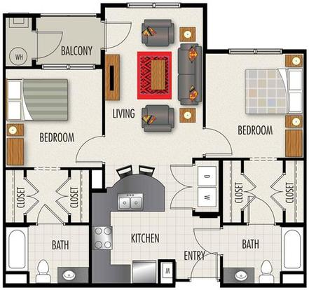 2 Bedrooms 2 Bathrooms Apartment for rent at Heights At Lasalle in Durham, NC