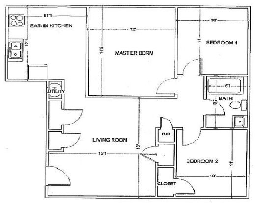 3 Bedrooms 1 Bathroom Apartment for rent at Pershing Park Apartments in Memphis, TN