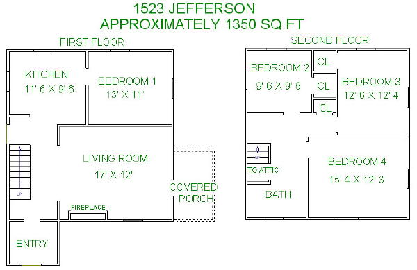 4 Bedrooms 2 Bathrooms House for rent at 1523 Jefferson Street in Madison, WI