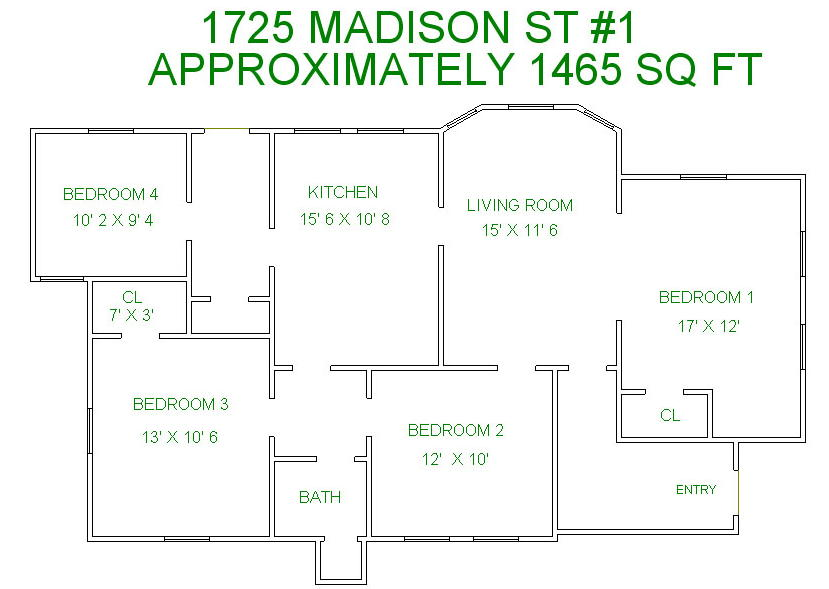 4 Bedrooms 2 Bathrooms Apartment for rent at 1725 Madison St in Madison, WI
