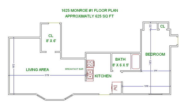 1 Bedroom 1 Bathroom House for rent at 1625 Monroe St in Madison, WI